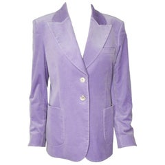 Gucci Lavender Velvet Formal Jacket With Peaked Lapels and Patch Pockets