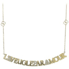 Gucci L'Aveugle Par Amour 18 Karat Yellow Gold Diamond Necklace