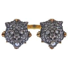 Gucci Le Marche Des Marveilles Gold Silver Diamond Feline Head Ring