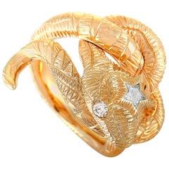 Gucci Le Marché Des Merveilles 18 Karat Rose Gold Diamond Snake Ring