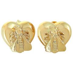 Gucci Le Marché des Merveilles 18 Karat Yellow Gold Bee Motif Earrings