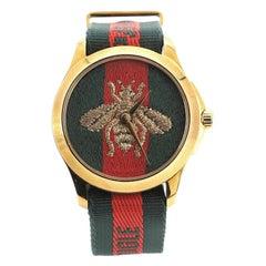 Gucci Le Marche Des Merveilles Bee Quartz Watch PVD Stainless Steel and Nylon 38