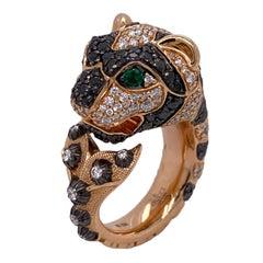 Gucci Le Marche Des Merveilles Diamond Black Sapphire 18KRG Statement Ring