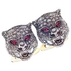 Gucci Le Marché des Merveilles Diamond Ruby Tiger Head Gold Cufflinks