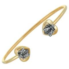 Gucci Le Marché des Merveilles Gold and Aged Silver Gray Diamond Bee Bracelet
