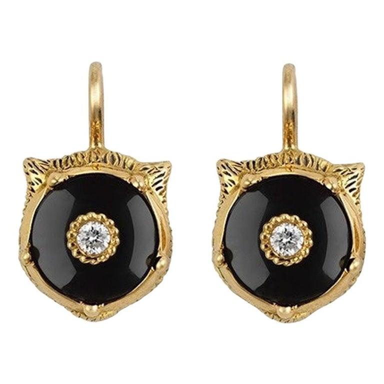 Gucci Le Marche Des Merveilles Onyx Tiger Head Drop Earrings YBD502831003 For Sale