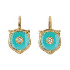 Gucci Le Marché Des Merveilles Turquoise and Diamond Earrings YBD502831004