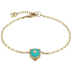 Gucci Le Marché Des Merveilles Turquoise Tiger Head Bracelet YBA502852004