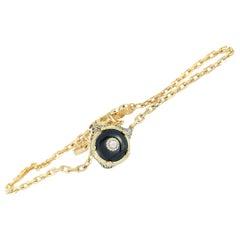 Gucci Le Marché des Merveilles Yellow Gold Diamond Onyx Feline Charm Bracelet