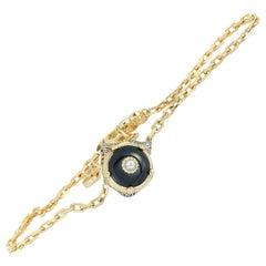 Gucci Le Marché des Merveilles Yellow Gold Diamond & Onyx Feline Motif Bracelet