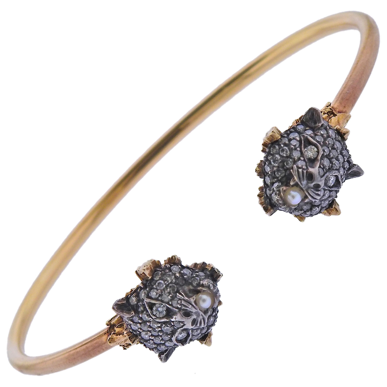 Gucci Le Marches Des Marveilles Gold Silver Diamond Pearl Bracelet