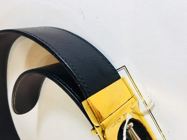 Black Gucci Leather Belt For Sale