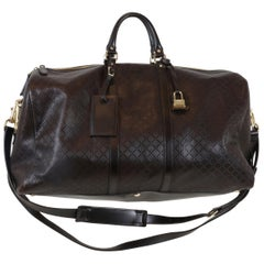 Gucci Leather Brown Overnight Bag with Handles & Gold Hardware