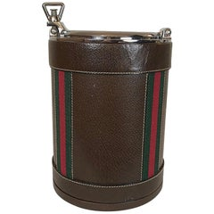 Gucci Leather, Glass and Chrome Ice Bucket