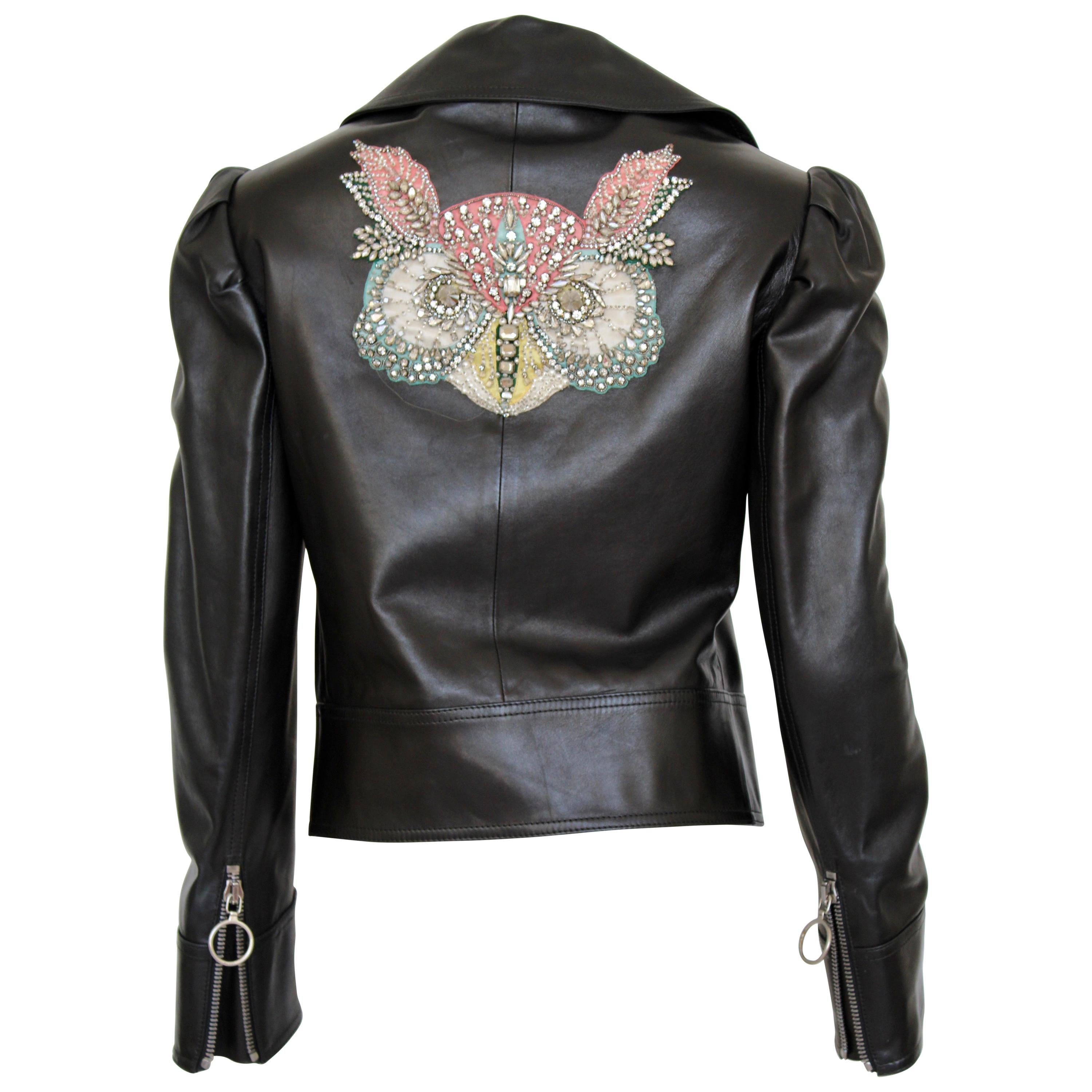 Gucci leather jacket with embroidered/crystal owl design