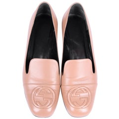 Gucci Leather Loafers - beige