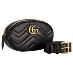 GUCCI  Leather Marmont Matelassé Belt Bag Black Cross Body Unisex Like New