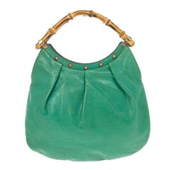 a0230df8d Gucci Turquoise Leather and GG Canvas Jackie O Hobo at 1stdibs