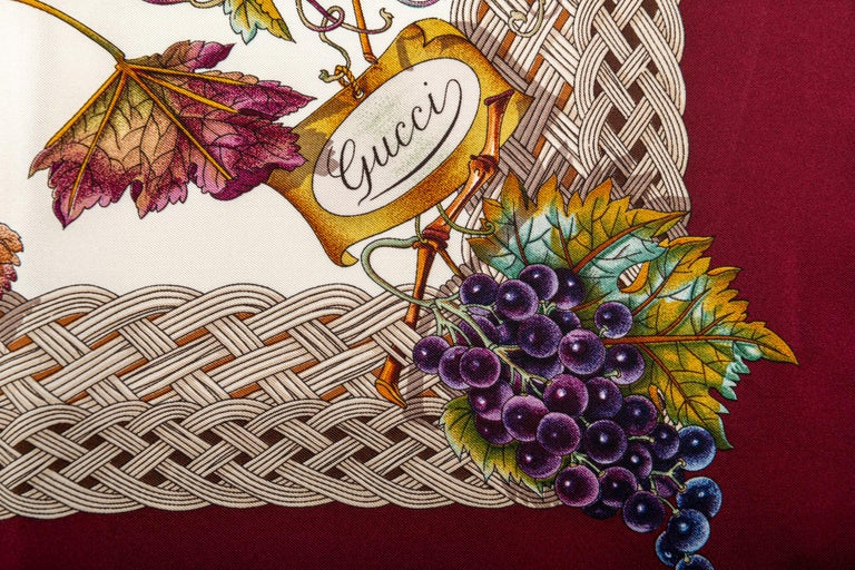 Gucci Leaves And Grapes Silk Scarf In Excellent Condition For Sale In West Hollywood, CA