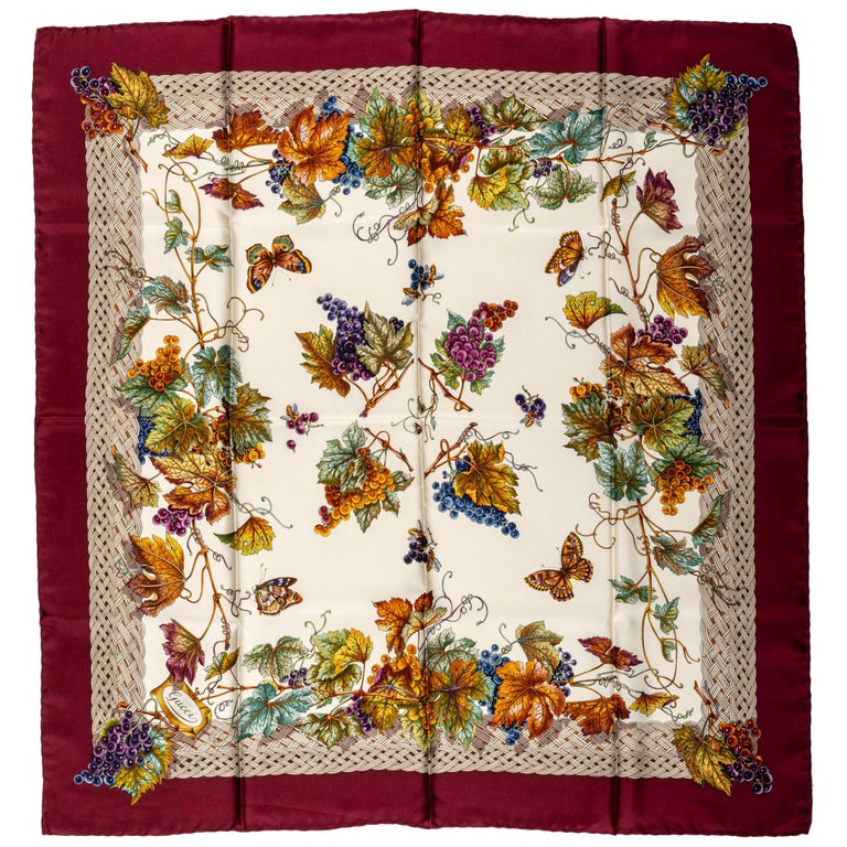 Gucci Leaves And Grapes Silk Scarf For Sale