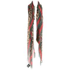 Gucci Leopard Print Web Trim Silk Blend Shawl