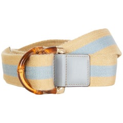 GUCCI light beige & blue WEB STRIPE BAMBOO BUCKLE Belt 90