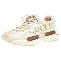 Gucci Light Beige Leather Rhyton Gucci Logo Low Top Sneakers Size 38