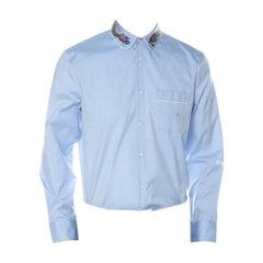 Gucci Light Blue Cotton Dragon Collar Embroidery Oxford Duke Shirt XL
