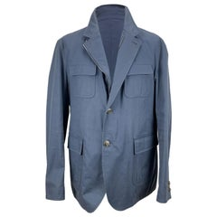 Gucci Light Blue Cotton Men Zip Jacket with Pockets Size 54 IT