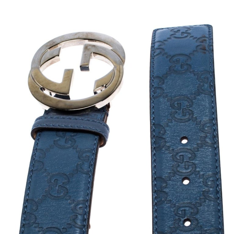 Men's Gucci Light Blue Guccissima Leather Interlocking G-Buckle Belt 90CM For Sale