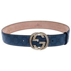 Gucci Light Blue Guccissima Leather Interlocking G-Buckle Belt 90CM