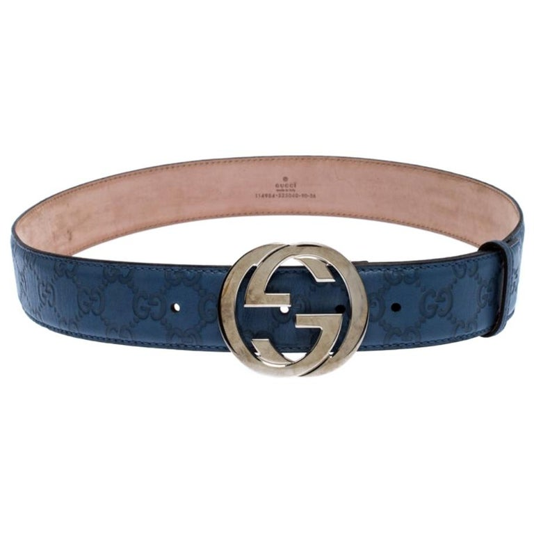 Gucci Light Blue Guccissima Leather Interlocking G-Buckle Belt 90CM For Sale