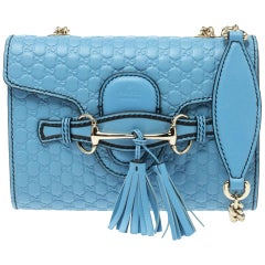 Gucci Light Blue Mircoguccissima Leather Mini Emily Chain Shoulder Bag