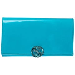 Gucci Light Blue Patent Leather Interlocking G Crystal Continental Wallet