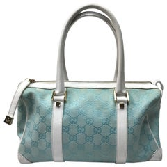 Gucci Light Blue & White Monogram Speedy Handbag