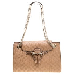 Gucci Light Brown Guccissima Leather Large Emily Chain Shoulder Bag