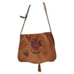 Gucci light brown leather roses shoulder crossbody bag