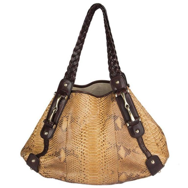 Brown GUCCI light brown PYTHON PELHAM Hobo Shoulder Bag For Sale