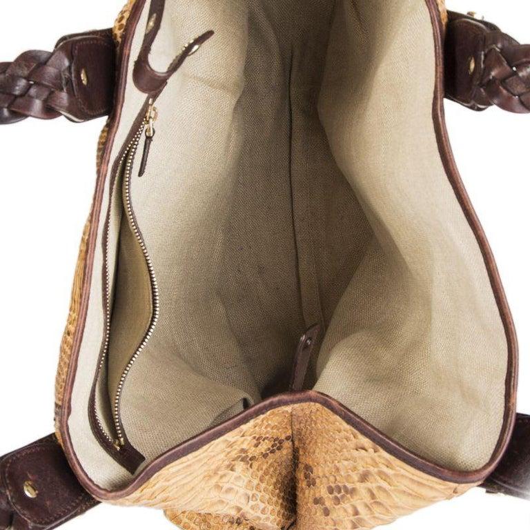 Women's GUCCI light brown PYTHON PELHAM Hobo Shoulder Bag For Sale