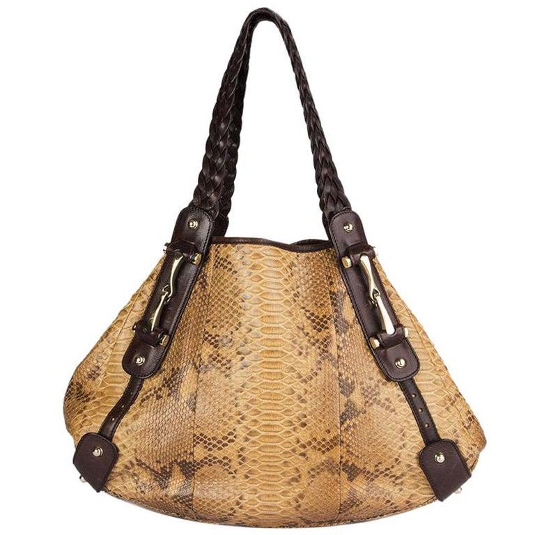 GUCCI light brown PYTHON PELHAM Hobo Shoulder Bag For Sale