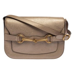 Gucci Light Gold Leather Bright Bit Flap Shoulder Bag