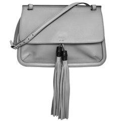 Gucci Light Grey Calfskin Medium Bamboo Daily Flap Bag