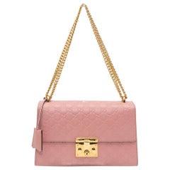 Gucci Light Pink Medium Guccissima Padlock Shoulder Bag