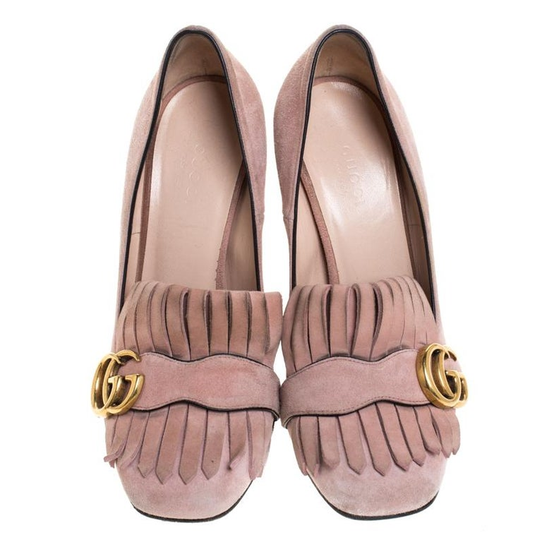 Brown Gucci Light Pink Suede GG Marmont Fringe Pumps Size 36 For Sale