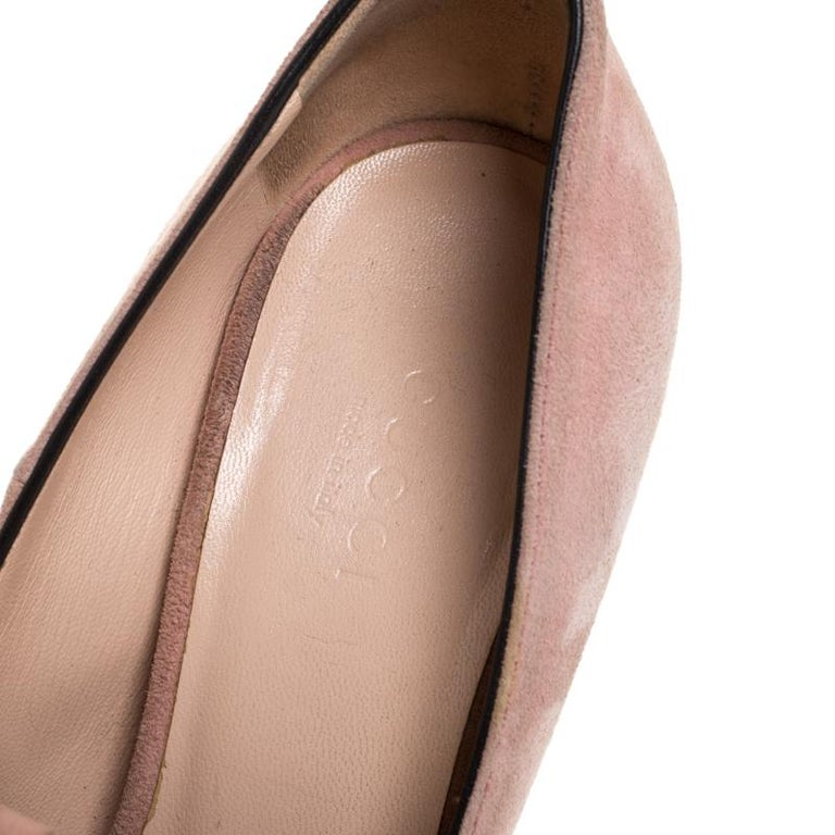 Gucci Light Pink Suede GG Marmont Fringe Pumps Size 36 For Sale 1
