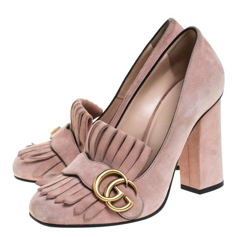Gucci Light Pink Suede GG Marmont Fringe Pumps Size 36 For Sale 2