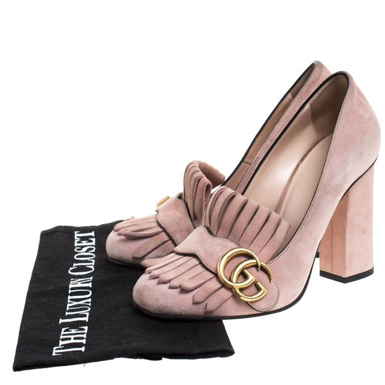 Gucci Light Pink Suede GG Marmont Fringe Pumps Size 36 For Sale 3