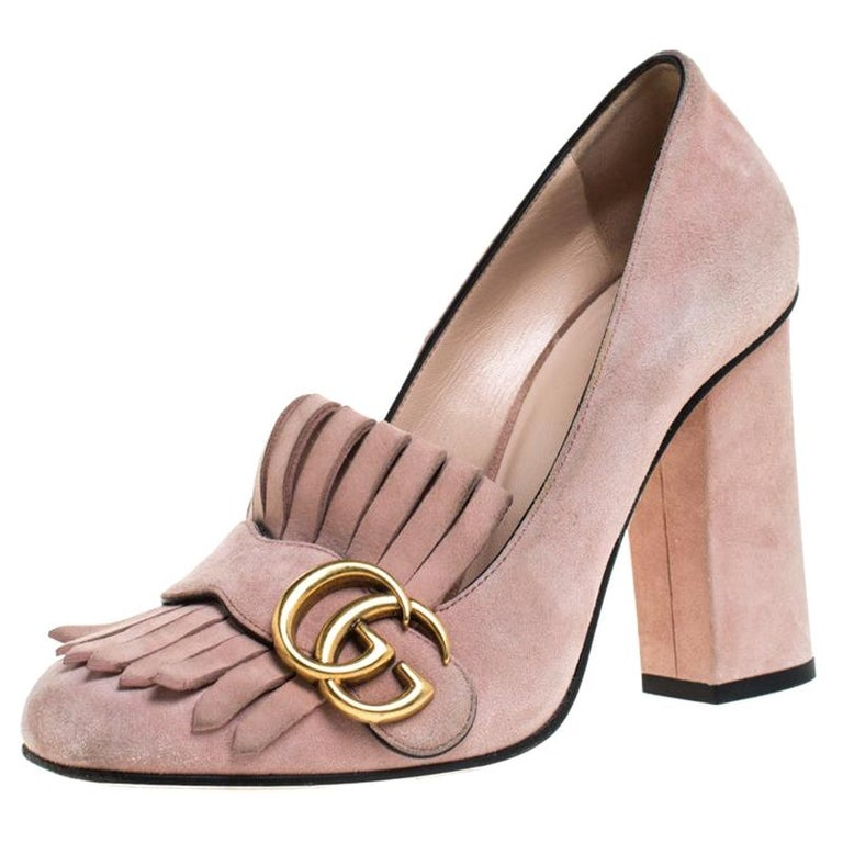 Gucci Light Pink Suede GG Marmont Fringe Pumps Size 36 For Sale