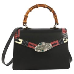 Gucci Lilith Top Handle Bag Leather with Snakeskin Small