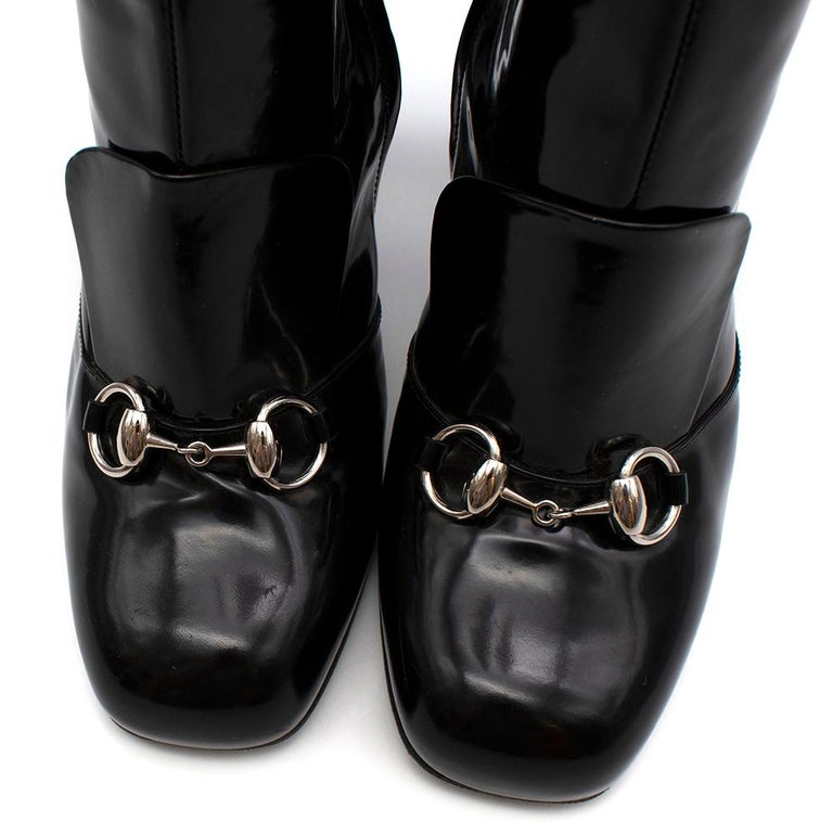 Gucci Lillian Horsebit Black Patent Heeled Boots 39.5 For Sale 6